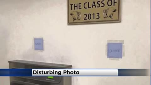 "Student disciplined after hanging ""white"" and ""colored"" signs over water fountain at Franklin High School"