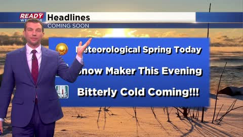 Snow developing this evening, cold late this weekend