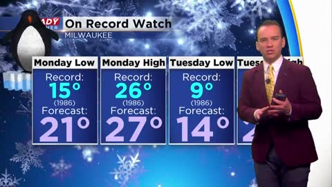 Near record lows Friday morning with another chance at records Monday and Tuesday