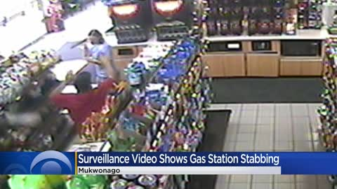 Surveillance video shows Mukwonago gas station stabbing