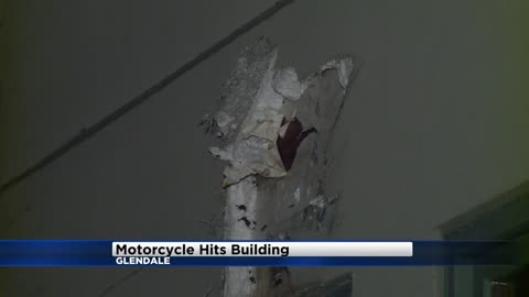Motorcyclist thrown from bike into building in Glendale