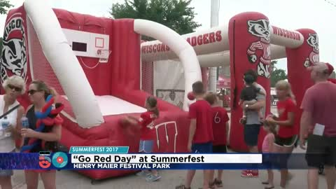 "Pep rally, parade, and all things Badgers as part of ""Go Red Day"" at Summerfest"