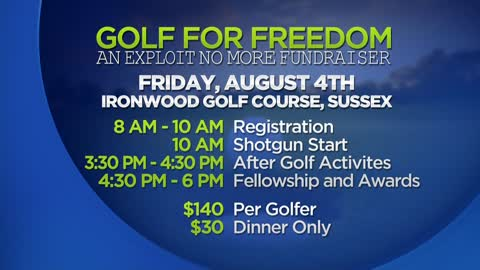 "Golf For Freedom to benefit ""Exploit No More"" fundraiser coming to Ironwood Golf Course in Sussex"