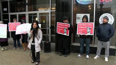 Immigration advocacy group demonstrates outside Baldwin office after government shutdown ends