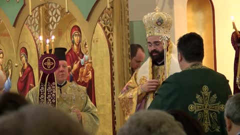 His Eminence Metropolitan Nathanael participates in Palm Sunday services at Annunciation Greek Orthodox Church