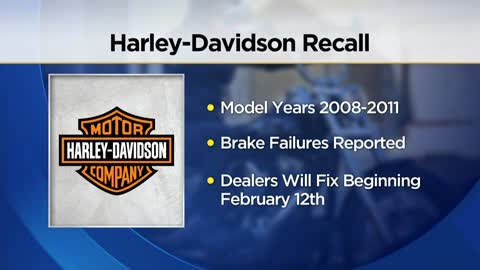 Harley-Davidson is recalling nearly 175,000 Motorcycles, Brakes might fail