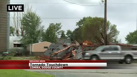 Damage to structures, power lines as possible tornado moves through Dodge County