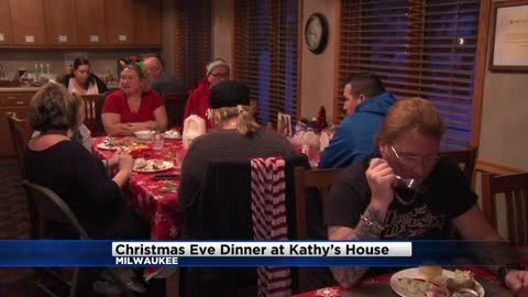 Dozens enjoy Christmas Eve dinner at Kathy's House