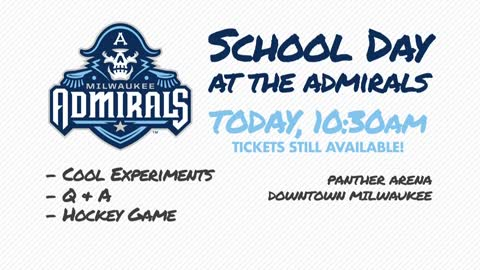 "Students get a hockey lesson at the Admirals' ""School Day"" Event on Wednesday"