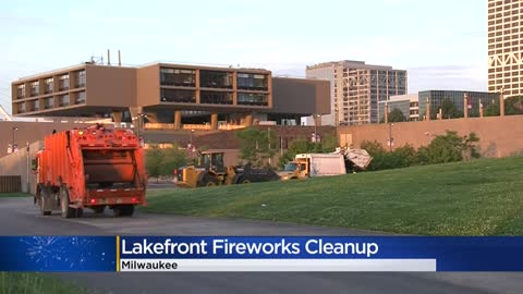 Crews cleanup Veteran's Park following lakefront fireworks in Milwaukee