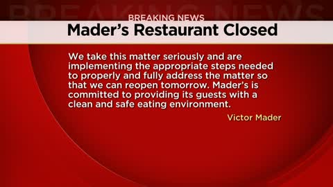 Mader's Restaurant in Milwaukee temporarily closed due to rodent infestation
