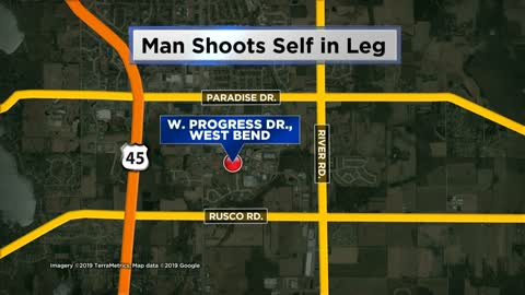 Man shot in the leg after his gun went off at work