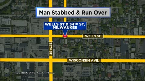 Man in serious condition after being stabbed, run over in Milwaukee