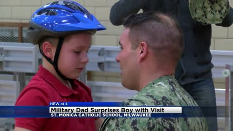 Military dad surprises son with visit at St. Monica Catholic School