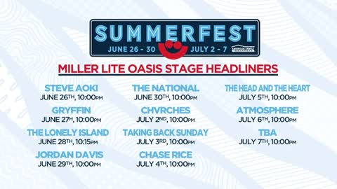 Summerfest releases dates and times for Miller Lite Oasis headliners