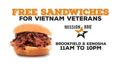 Sandwich & a smile for Vietnam Vets today at Mission BBQ