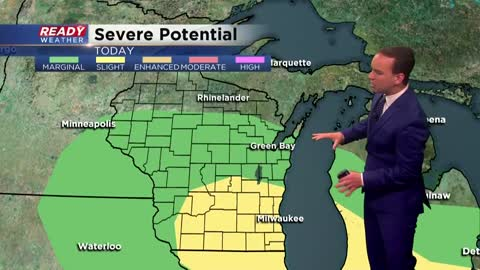Couple rounds of storms Monday could be strong to severe