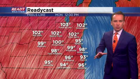 Prolonged heat starts Monday with heat indices close to 100°
