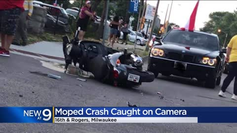 Moped crash near 16th and Rogers caught on camera