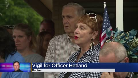 Dozens gather for vigil for Racine Police Officer John Hetland