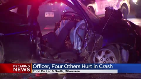 5 people, including 1 officer injured during police pursuit