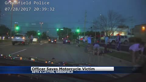 Greenfield Police Officer helps save badly hurt biker
