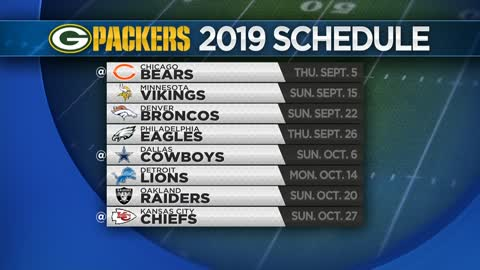 Green Bay Packers release 2019 regular-season schedule