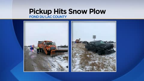 Pickup truck loses control and crashes into plow in Fond du Lac County