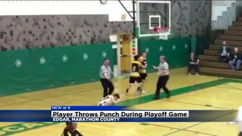 Player throws punch during playoff game in Marathon County