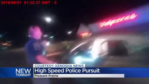 Dash cam video shows Pleasant Prairie police chase