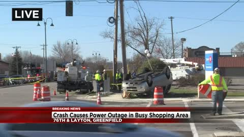 Crash near 76th and Layton in Greenfield causes power outage