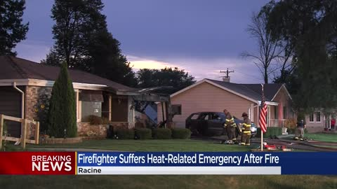 Crews respond to fire at Racine County home, firefighter taken to hospital
