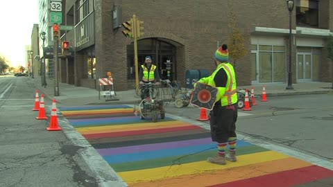 Rainbow crosswalk installed at Jefferson and Wells in Milwaukee