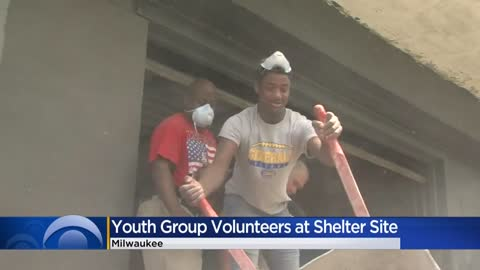 Running Rebels youth group volunteer at future shelter site