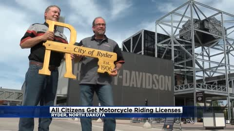 All citizens in Ryder, North Dakota get motorcycle riding licenses thanks to Harley Davidson