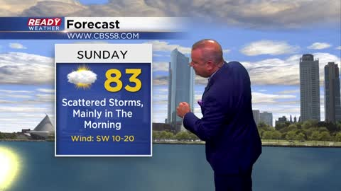 Saturday Storm Update:  Better chance of storms now delayed until...