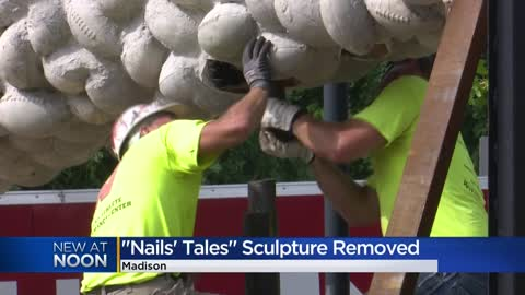 Nails' Tales sculpture outside Camp Randall Stadium removed...