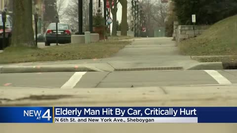 Elderly man struck by car, critically hurt