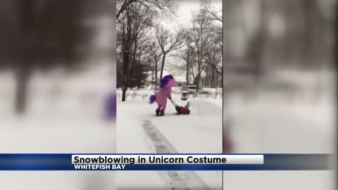 Check out this unicorn snowblowing in Whitefish Bay