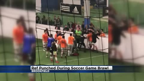 Video: Referee punched in the head during soccer game brawl in Brookfield