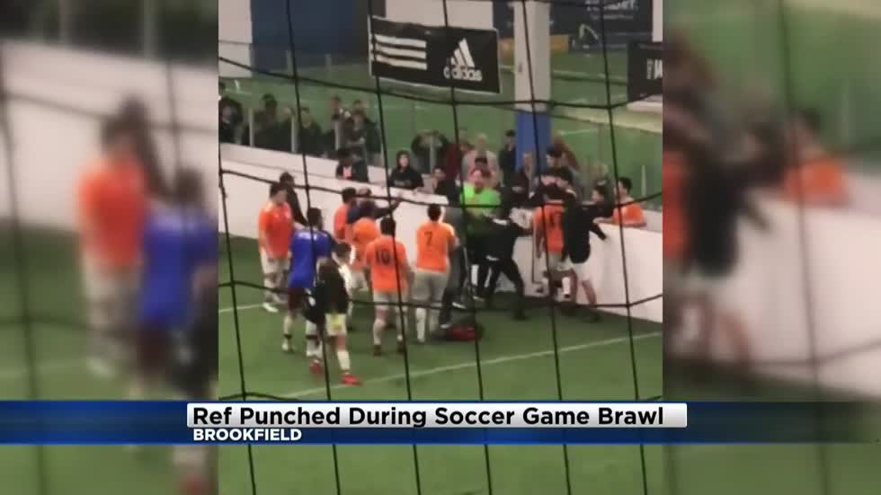 b8258cf25 Video  Referee punched in the head during soccer game brawl in Brookfield