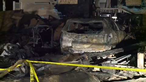 Garage destroyed in early morning fire near Elm and Fairview