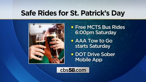 Free safe rides home available on St. Patrick's Day