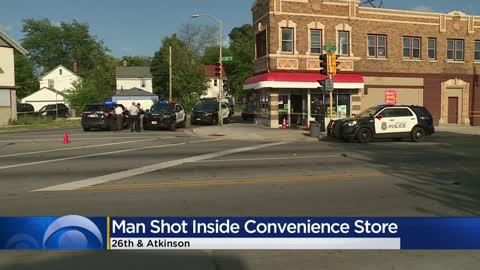 Innocent bystander shot inside north side convenience store