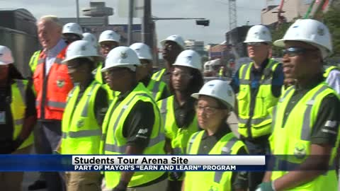 "Students tour new Bucks arena as part of Mayor's ""Earn and Learn"" program"