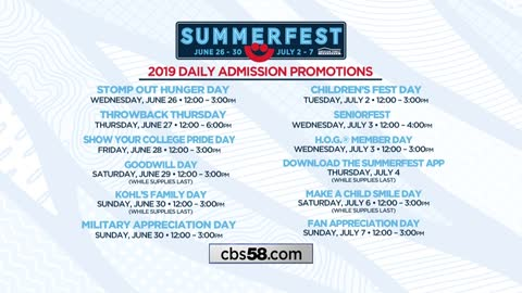 Summerfest 2019 daily promotions announced