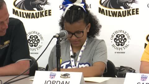 UWM Women's Soccer provides signing day experience for 9-year old born with rare condition