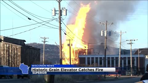 Historic grain elevator catches fire in Superior