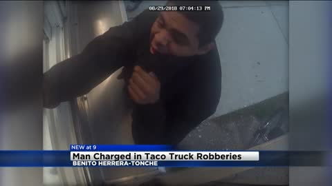 Man charged with allegedly robbing several taco trucks in August