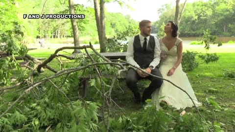 Caught on video: Newlywed couple narrowly misses being seriously hurt by falling tree branch